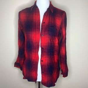 Madewell red flannel woman's size xs button down